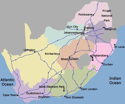 Guided South Africa coach tour - Cape Town bus tours - safari tours - golf tours