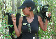 Selftours staff interact with Indri Lemurs in the Palmarium Reserve