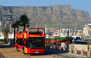 "Cape Town's ""Hop on"" ""Hop off"" topless busses continually circulates the city."