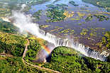 Victoria Falls, showing road and rail bridge, official boarder between Zimbabwe & Zambia