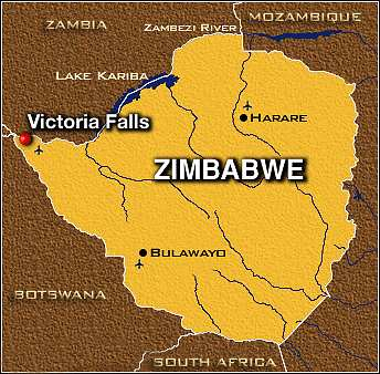 Zimbabwe map of Victoria Falls
