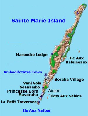 Island of Sainte Marie map - St Marie Madagascar